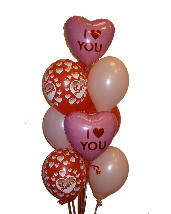 Ballongbukett: I Heart You - Pink