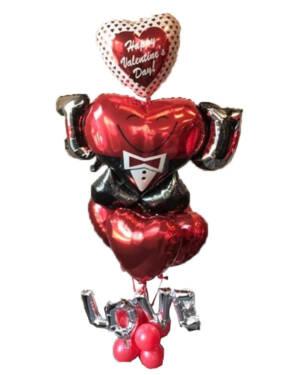 "Ballongbukett:  ""Happy Valentine's Day"" - Tuxedo"
