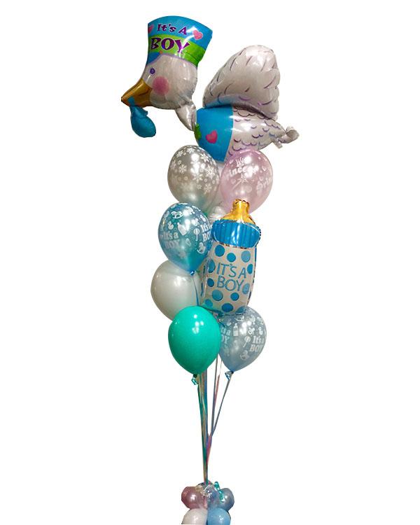 Ballongbukett: Stork & Baby Bottle - It's a Boy