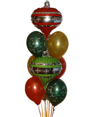 """Ballongbukett: """"God Jul"""" Julekuler"""