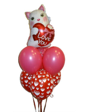 Ballongbukett: Kjærlig Pus