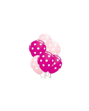Ballongbukett: Polka Dots - Pink & Pink