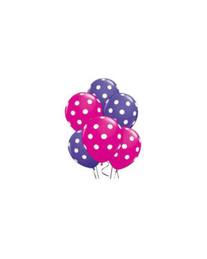 Ballongbukett: Polka Dots - Purple & Pink