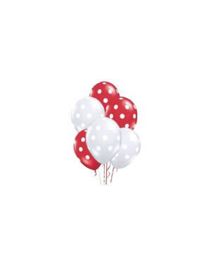 Ballongbukett: Polka Dots - Red & Clear