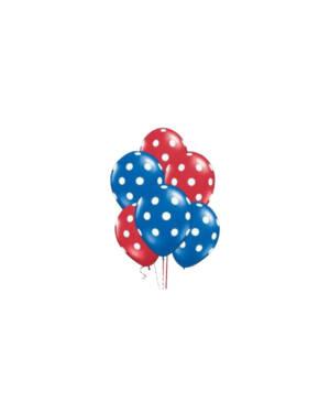 Ballongbukett: Polka Dots - Red & Blue