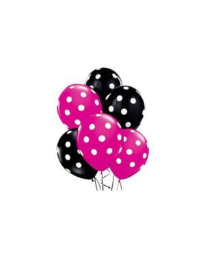 Ballongbukett: Polka Dots - Rose & Black