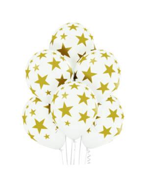 Ballongbukett: Golden Stars - White