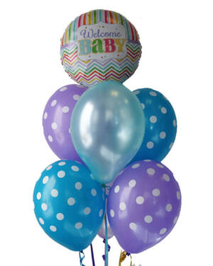 "Ballongbukett: ""Welcome Baby"" - Blue Polka Dots"