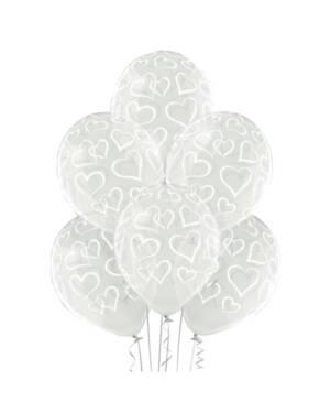 Ballongbukett: Hvite Hjerter