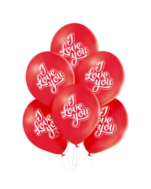Ballongbukett: I Love You - Red