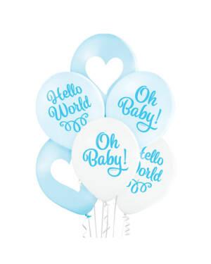 Ballongbukett: Hello World - Oh Baby! Blue