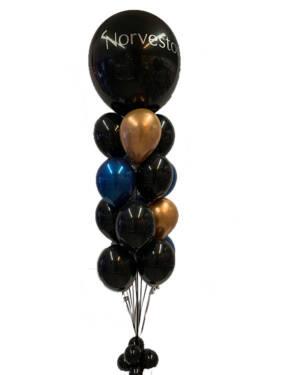 Ballongbukett: Svart & Blå Jumbo