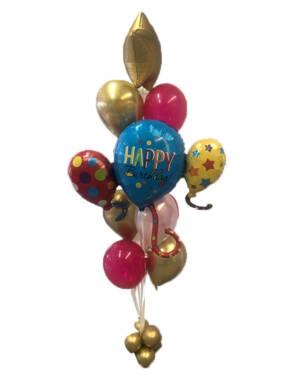 Ballongbukett: Happy Birthday Golden Star