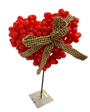Bubble Heart: Red with Golden Ribbon