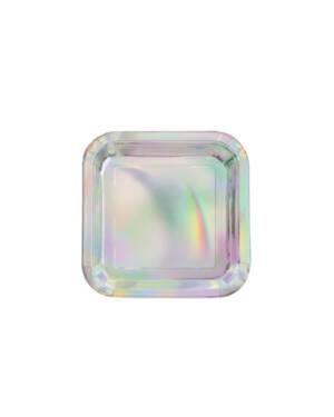 Tallerken (8stk): Firekantet - Iriserende Farge - 23cm