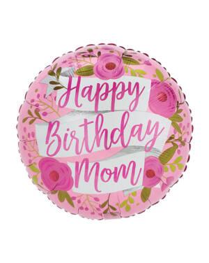 """Folieballong: """"Happy Birthday Mom"""" - Roser & blomster - 43cm"""