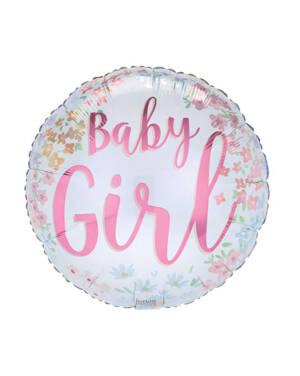 """Folieballong: """"Baby Girl"""" - Blomster - 43cm"""