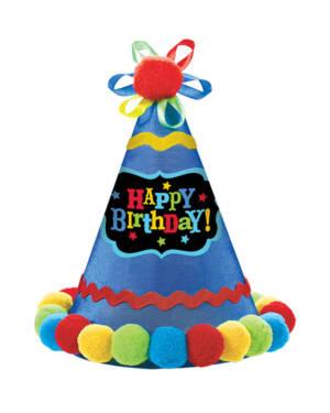 """Festhatt med dusker: """"Happy Birthday - Fargerik - 21cm"""