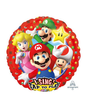 Syngende Folieballong / Folieballong med musikk: Super Mario - 71 x 71cm