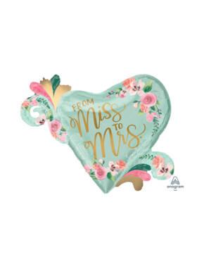 "Folieballong: ""From Miss to Mrs"" & Blader - Rund - 81 x 66cm"