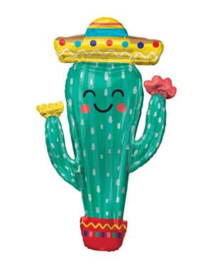 Folieballong: Kaktus med Hatt - 60 x 96cm