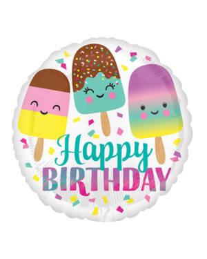 """Folieballong: """"Happy Birthday"""" - Iskrem - 43cm"""