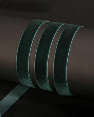 Bånd: Velvet - Green 15mm x 3meter