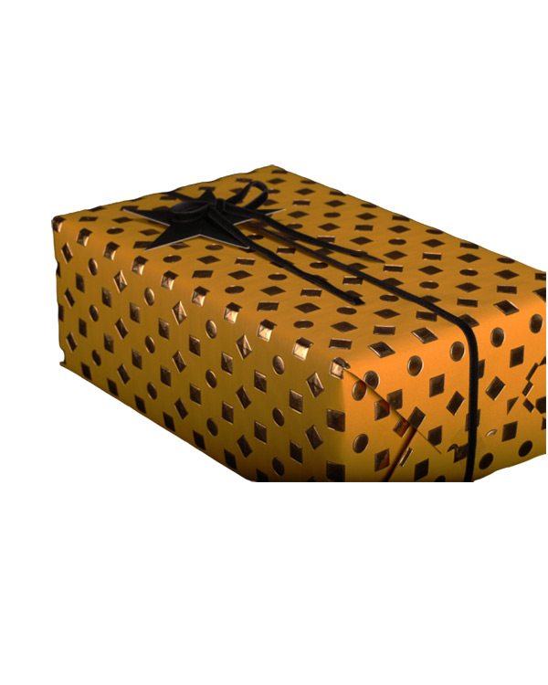 Gavepapir: 3D - Gold/Yellow 55cm - x 3meter