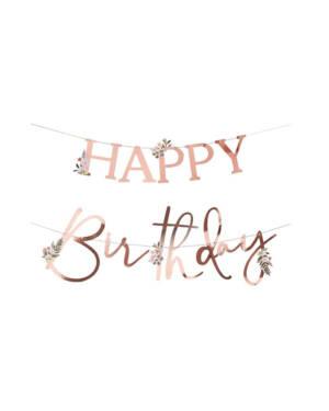 """Banner / Girlander:""""Happy Birthday"""" med blomster - Rosegull - 2 x 2m"""