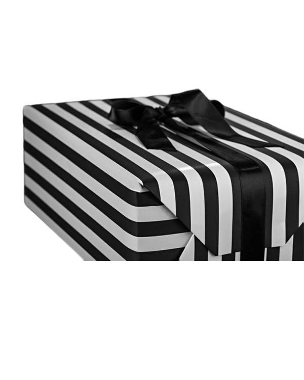 Gavepapir: Sorte & Hvite Striper - 100cm x 3meter