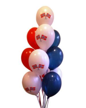 Ballongbukett: 17. mai Rødt, hvit & blått lateksbukett