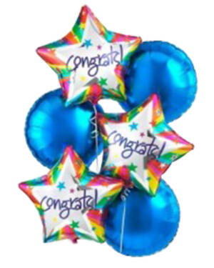 Ballongbukett: Congrats Blue Star