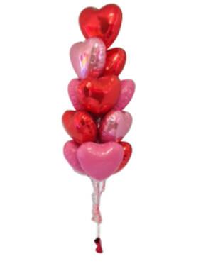 Ballongbukett: I Love you a Dozen - Pink & Red