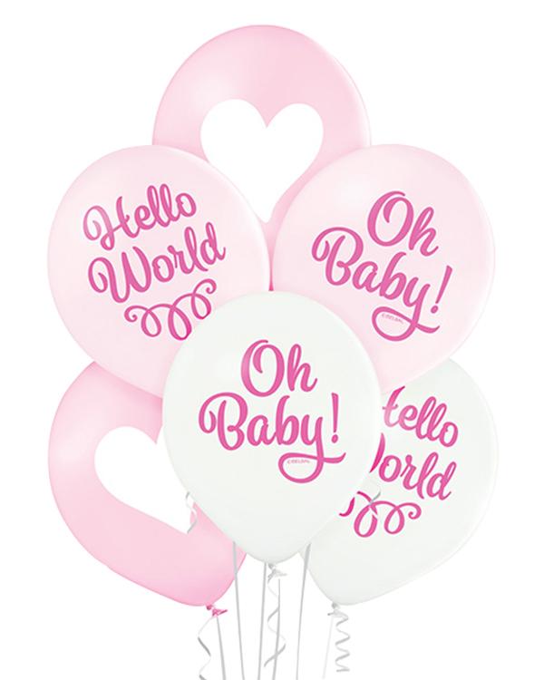 Ballongbukett: Hello World - Oh Baby! Pink
