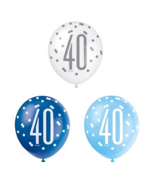"""Lateksballonger (6stk): """"40"""" - Blå & Sølv Glitz - 30cm"""