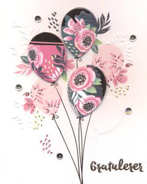 """Håndlaget Kort: """"Gratulerer"""" - Blomster & Ballonger"""