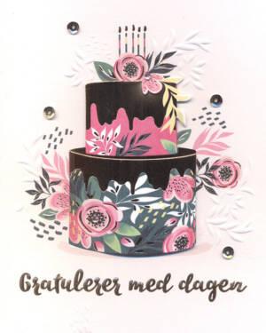 """Håndlaget Kort: """"Gratulerer med dagen"""" - Blomster & Kake"""