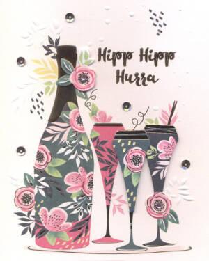 """Håndlaget Kort: """"Hipp Hipp Hurra"""" - Blomster, Champagneflaske & Glass"""