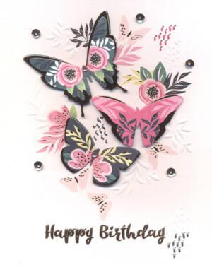 """Håndlaget Kort: """"Happy Birthday"""" - Blomster & Sommerfugler"""