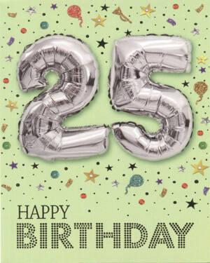 "Kort: ""25"" & ""Happy Birthday"" - Ballong - Sølv"