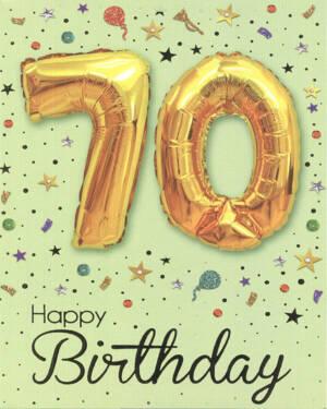 "Kort: ""70"" & ""Happy Birthday"" - Ballong - Gull"