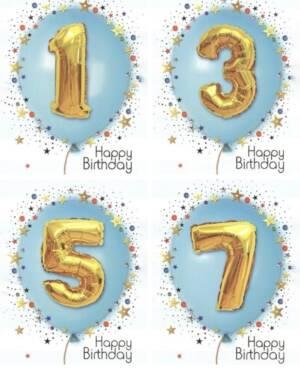"Kort: ""Happy Birthday"" Ballong - Blå & Gull"