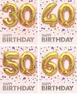 "Kort: ""Happy Birthday"" Ulike tall - Ballong - Gull"