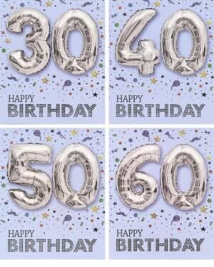 "Kort: ""Happy Birthday"" Ulike tall - Ballong - Sølv"