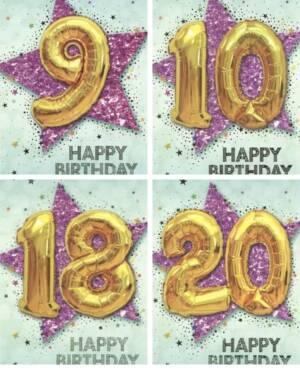 """Kort: """"Happy Birthday"""" - Ulike tall - Stjerne & Ballong - Gull"""
