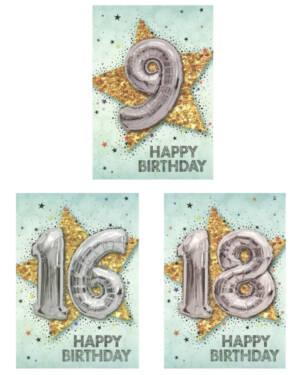 """Kort: """"Happy Birthday"""" - Ulike tall - Stjerne & Ballong - Sølv & Sølv"""
