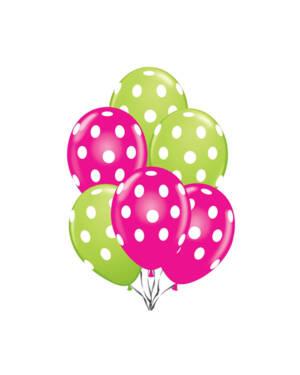 Ballongbukett: Polka Dots - Rose & Lime