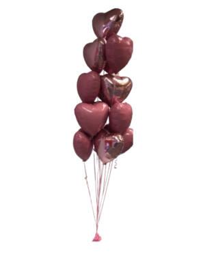 Ballongbukett: Love you a Dozen - Pink & Red