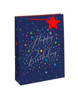 """Gavepose: """"Happy Birthday"""" & Stjerner - Medium"""