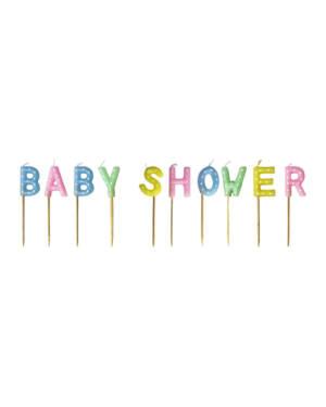 """Kakelys (10stk): """"Baby Shower"""" - 7,5cm"""